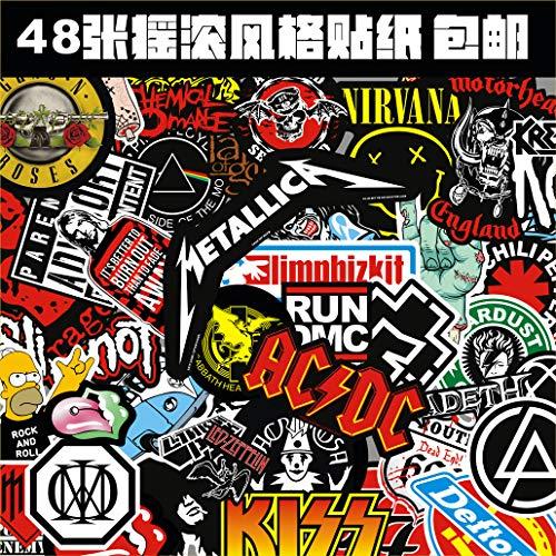 BLOUR Pegatinas de Caja Rock Heavy Metal Style Juego de Pegatinas de Guitarra Pegatinas de Rock Pegatinas de computadora 48 Hojas