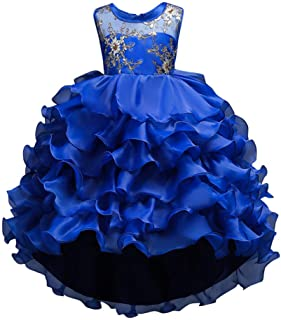 ❤️ Mealeaf ❤️ Floral Baby Girl Princess Bridesmaid Pageant Gown Ruffle Layers Birthday Party Wedding Dress 0-15Years