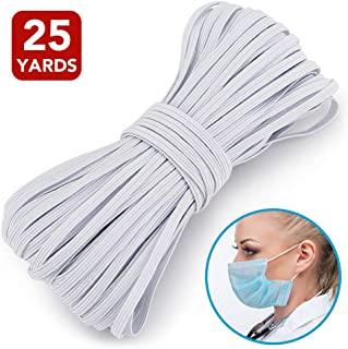 1/8 Inch Elastic Band, Braided Elastic Cord White Flat Elastic Rope Bungee Band for Sewing and Crafting (25 Yards)