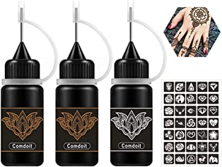 Comdoit Temporary Tattoos Kit Jagua Gel Black Brown Tattoos Semi Permanent Tattoo Freehand Ink 35 Pcs Cute Tattoos Stencils DIY Tattoos Fake Freckles Temp Tattoos for Women Kids Men (3 Bottles)