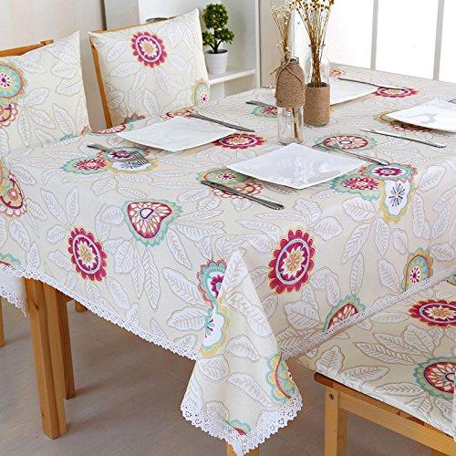 Uus Pastoral Style Nappe anti-eau Housse de table Polyester Nappe facile à nettoyer Superbe décoration de cuisine 130*130cm bleu
