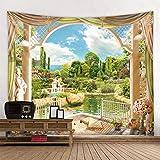 KHKJ Green Hills Tapisserie Außerhalb des Fensters Gedruckte dekorative Tapisserie Indische Wohnkultur Große Hippie-Wandbehänge A3 200x180cm