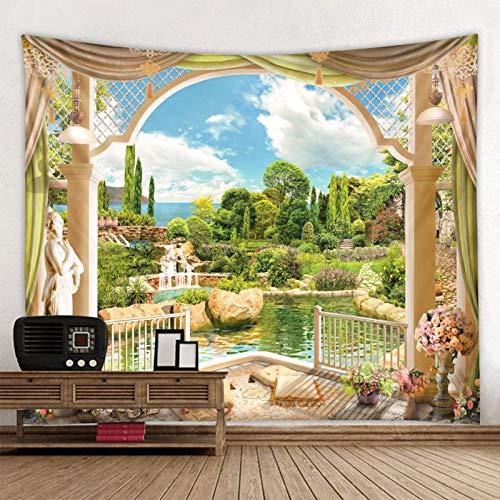 JXWR La Escena del jardín Fuera de la Ventana Tapiz Impreso decoración Mandala Tapiz Decoración del hogar Indio Gran Hippie Manta para Colgar en la Pared 150x130cm