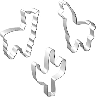 Large Summer Tropical Cookie Cutters Stainless Steel, Cactus and Llama Fondant Cutter Molds for Biscuit, Fruit, Bread