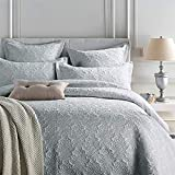 ETDWA Gesteppte Tagesdecken aus silberner Kunstseide, hautfre&liche, Dicke Baumwollbettdecke, bestickte Bettdecke, 230 x 250 cm (91 x 98 Zoll)