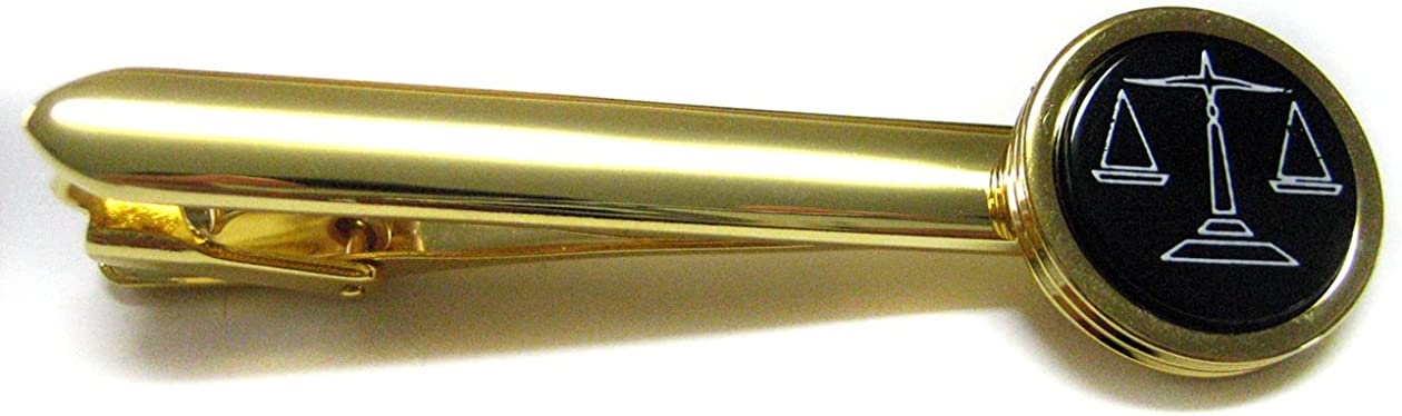 Golden Scale of Justice Tie Clips