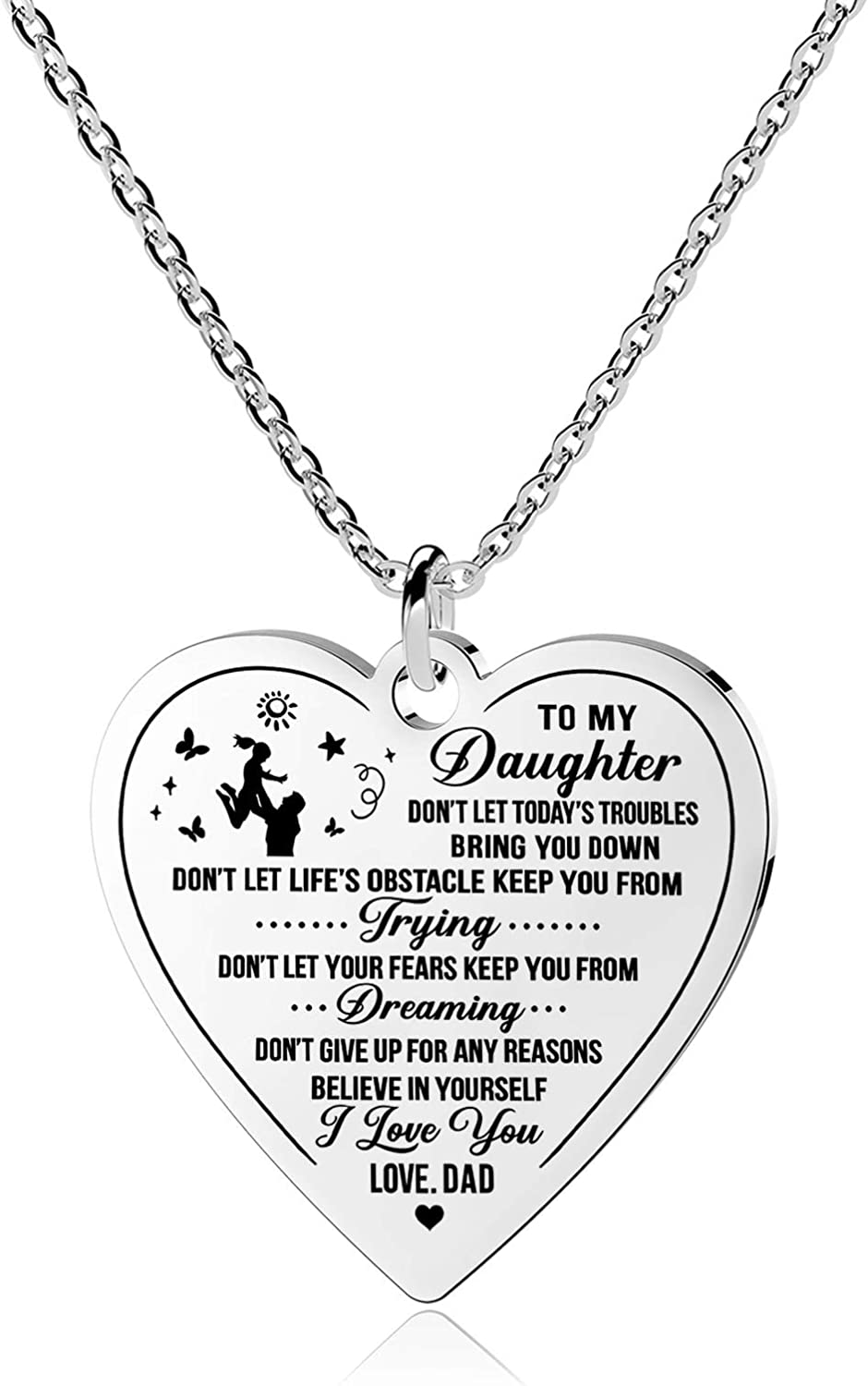 Jewelady to My Daughter Necklace Recommendation from Dad Pendant Mom Heart Luxury Char