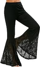 Huifa Women Ruffles High Waist Wide Leg Long Flared Bell Bottom Yoga Pants Trouser