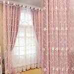 Double Layer Flower Embroidered Voile Mix Match Blackout Curtain Darkening Thermal Insulated Window Treatment Grommet Drapes for Living Room Girls Bedroom 1 Panel 52 x 84 Pink