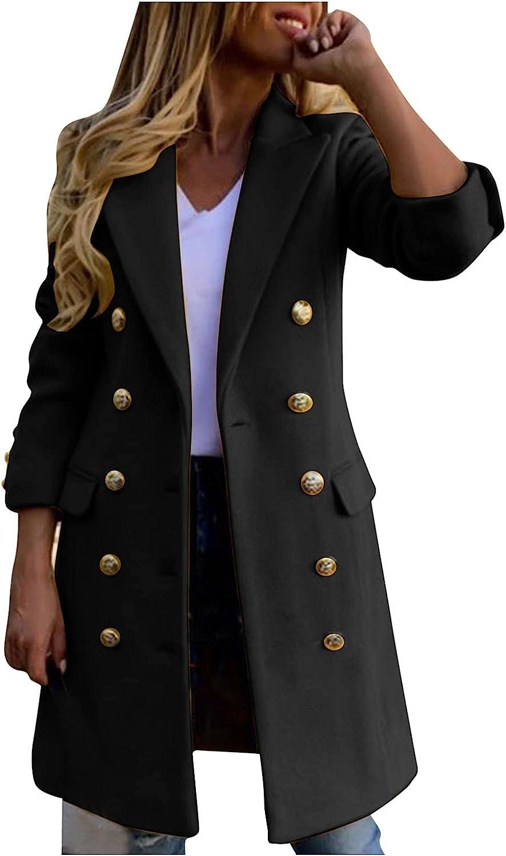 Women's Faux Wool Thin Coat Trench Jacket Ladies Warm Slim Long Overcoat Outwear JMETRIE