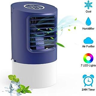 TedGem Aire Acondicionado Pequeño, Ventilador Aire Acondicionado, 4 en 1 Air Cooler Fan, Humidificador, Ventilador de Escritorio, 7 Luces LED, 3 Velocidades, para el Hogar y la Oficina (Azul)