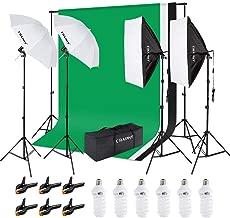 CRAPHY Kit de iluminación Profesional con Softbox y Paraguas para Estudio de Fotografía y Vídeo, Fondo con Soporte (Blanco, Negro y Verde) 3m x 2,6m y Bolsa de Transporte