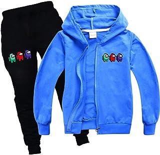 Pantaloni Cappellino da Baseball 3 Pezzi Tute Set Casual Pullover Abbigliamento Sportivo per Among us Bambina e Bambini JDSWAN Unisex Bambini Tuta Sportiva Stampati Felpa con Cappuccio