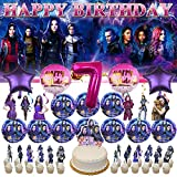 7th Descendants Party Supplies | Decorations | for Girls | Birthday | 7 | Banner | Backdrop | Seven | Balloons | Plates