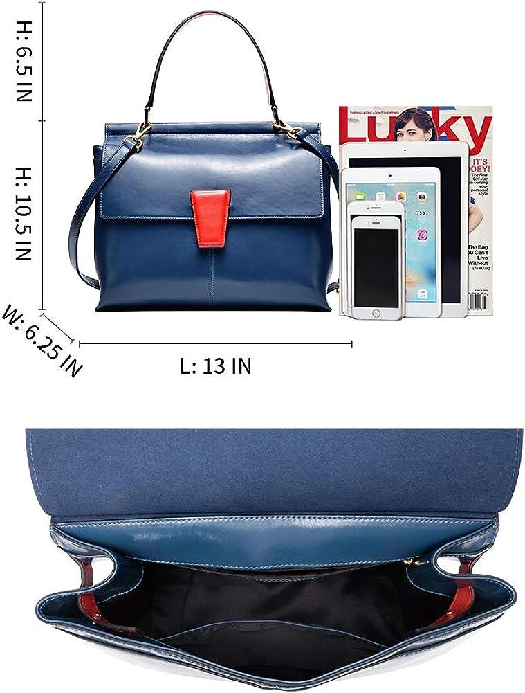 PIJUSHI Genuine Leather Handbags for Women Top Handle Satchel Handbags and Purses for Ladies Shoulder Bag