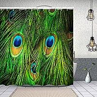 シャワーカーテンカラフルな孔雀の羽 防水 目隠し 速乾 高級 ポリエステル生地 遮像 浴室 バスカーテン お風呂カーテン 間仕切りリング付のシャワーカーテン 180 x 180cm