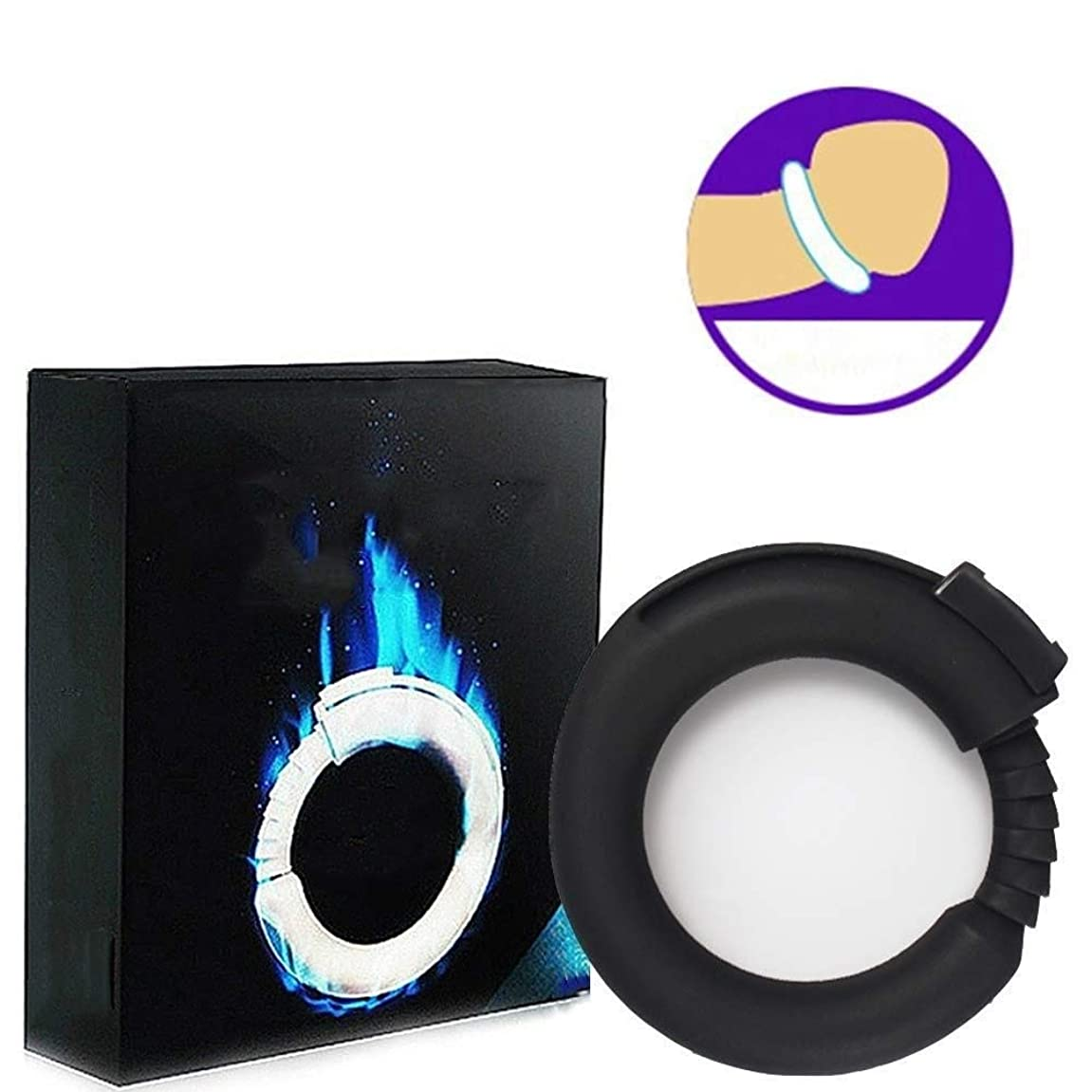 パラメータ然とした鉛振動リング、シリコーン男性強化エクササイズバンドOリング柔軟なリング - 100%医療用グレードシリコーン - リアル感 (Color : Black)