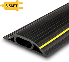 Floor Cable Cover, 6.5 Ft Floor Cord Protector 3 Channels Contains Cords, Cables and Wires, Perfect for Office, Home, Workshop, Warehouse, Concert, or Other Outdoor Surroundings (Black)