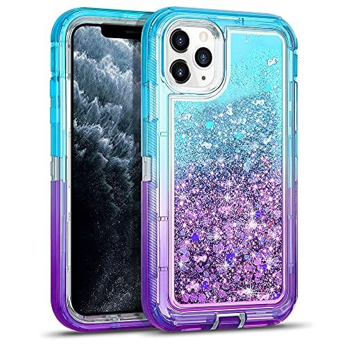 DEIOKL Funda 3D Glitter Armor para iPhone 12 11 Pro MAX Fundas para teléfono a Prueba de Golpes para XS MAX XR 6S 7 8Plus, Azul Cielo púrpura, para 6S Plus7P8P 6P