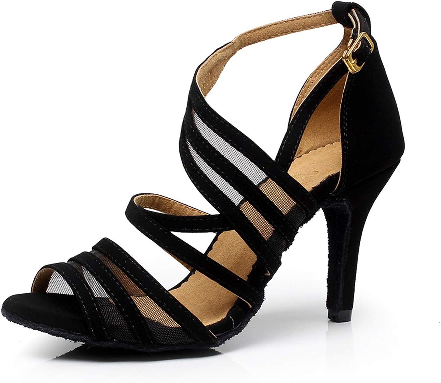 Minishion Women's Latin Salsa Ankle Wrap Ballroom Dance Shoes Evening Sandals QJ7036