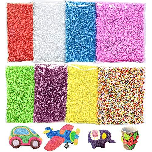 SZWL 8Pack Slime Bead,Mini Palline di polistirolo Colorate,di Micro Palline in Styrofoam, Imbottitura, Decorazione, da Usare per Slime o Come Perline per creazioni artistiche e Fai da Te