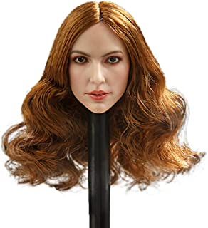 """Phicen 1/6 Scale Female Head Sculpt with Curls for 12"""" Female Body Hot Toys (Golden Brown Curly Hair)"""
