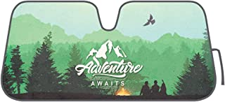 BDK AS-782 Outdoors-Adventure Awaits-Front Windshield Shade-Accordion Folding Auto Sunshade for Car Truck SUV-Blocks UV Rays Sun Visor Protector-Keeps Your Vehicle Cool-58 x 28 Inch