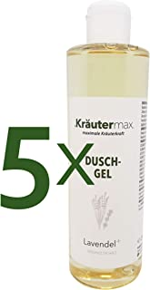 Kräutermax Lavendel Duschgel Damen 5 x 250 ml Natur Kosmetik Shampoo