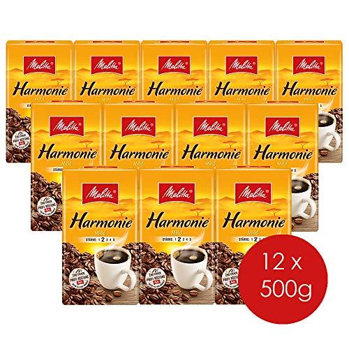Melitta Gemahlener Röstkaffee, Filterkaffee, feines Aroma, milder Röstgrad, Stärke 2, Harmonie Mild, 12er Pack (12 x 500 g)