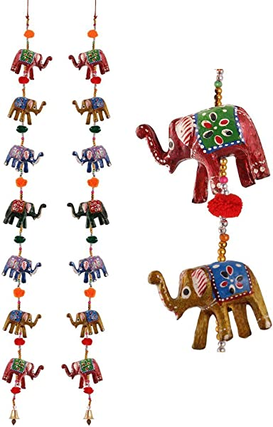 HANDICRAFTS PARADISE Men S Door Hanging Pair Of 7 Paper Machie Elephants With Pumpum Standard 7 Elephant With Pumpum