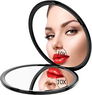 Gospire Pocket Makeup Mirror for Travel, 1X/10X Double Sided Magnifying Compact Handbag Cosmetic Mirror, 4 Inch Ultra-thin Handheld Round Foldable Portable Mirror for Women (Black)