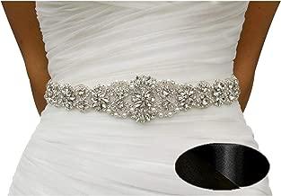 Bridal sash Bridal Crystal Rhinestone Wedding Dress Sash Belt with Black Ribbon