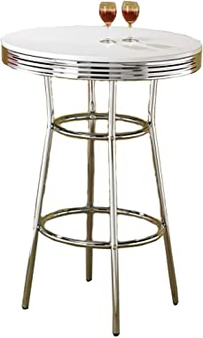Coaster Home Furnishings CO-2300 Cleveland 50's Soda Fountain Bar Table, Chrome and White