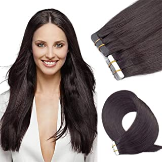 Tape in Hair Extensions Human Hair 20 inch 20pcs 50g/pack Seamless Skin Weft Remy Straight Hair 2# Dark Brow