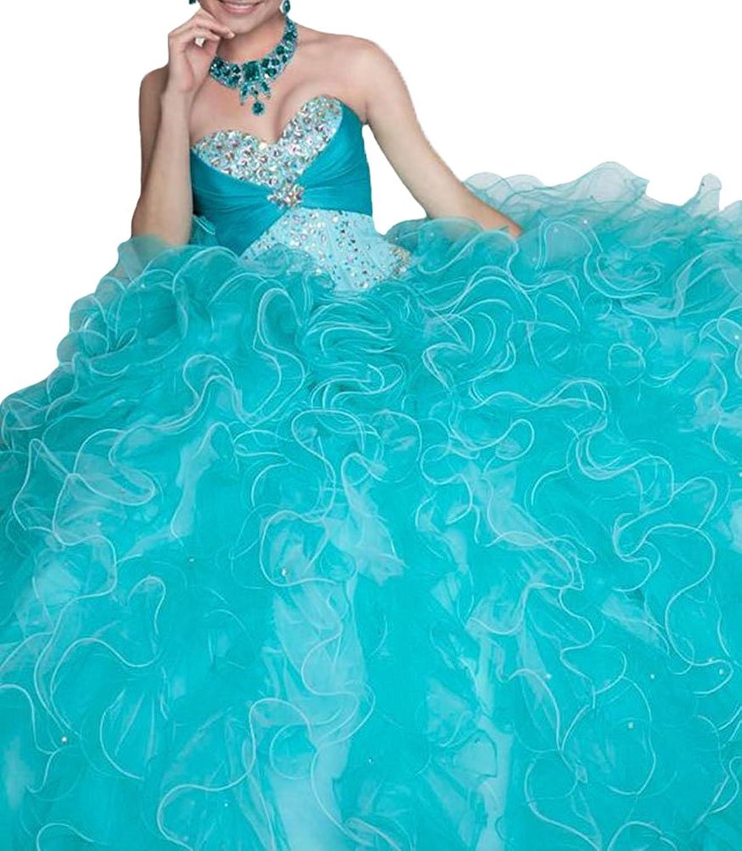 HSDJ Women's Quinceanera Sweetheart Ball Gowns Beaded Lace Up Princess Dress