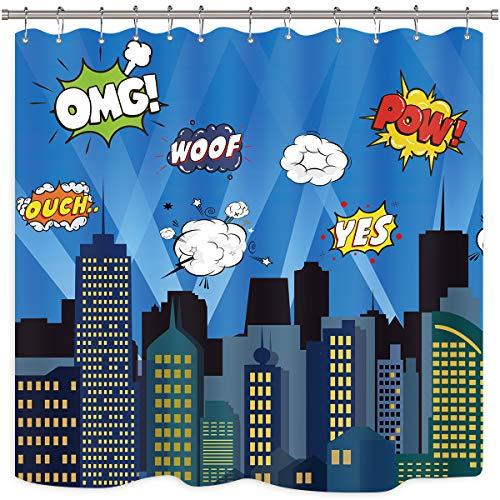 Riyidecor Superhelden-Duschvorhang, Gebäude, Stadtbild, Stadt, Cartoon-Skyline, Dekorstoff, Polyester, wasserdicht, 183 x 183 cm, inklusive 12 Kunststoffhaken