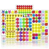4980PCS Stickers(60 Sheet)Smiley face Stickers and Star Stickers (Random six Styles) Teachers, Children and Parents' Reward Stickers, Children's Handmade Scrapbook Decoration