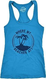 Womens Tank Where My Beaches at Tanktop Funny Summer Vacation Shirt