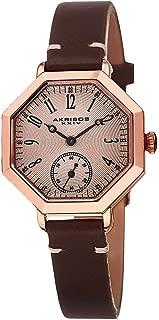 Akribos Xxiv Women'S Rose Gold Dial Leather Band Watch - Ak771Rgbr