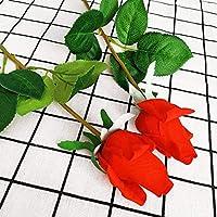 7個のリアルタッチローズブランチ茎ラテックスローズハンドフィール感じシミュレーション装飾的な人工シリコーンバラの花のホーム結婚式 (Color : Red)