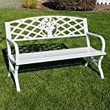 Belleze 50' inch Outdoor Park Bench Garden Backyard Furniture Chair Porch Seat Steel Frame, White