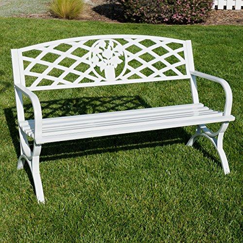 """BELLEZE 50"""" inch Outdoor Park Bench Garden Backyard Furniture Chair Porch Seat Steel Frame, White"""