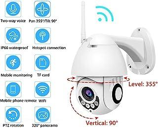 QinLL Cámara de Seguridad para Exteriores HD 1080P WiFi Inalámbrica PTZ Ratation Vigilancia Cámara IP con visión Nocturna Audio bidireccional IP66 Detección de Movimiento BB