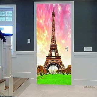 LOVEJJ Stickers de Porte 3D Tour parisienne Déco Murale Qualité HD PVC Douche Bureau Salon Décoration Couloir Peinture Mur...
