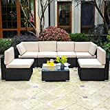 YITAHOME 7 Pieces Outdoor Conversation Set Patio Sectional Sofa PE Rattan Wicker Furniture Set Backyard Couch with Table & Cushions for Porch Lawn Garden (Black)