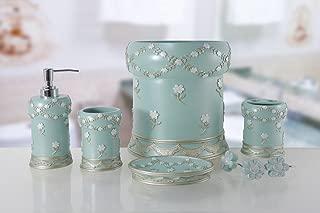 BH Home & Linen 6-Piece Decorative Bathroom Accessory Set Made of Ceramic (Maya Aqua)