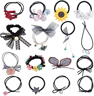 inSowni 15 Pack Stretchy Seamless Hair Ties Bands Ponytail Holders Scrunchies with 1pc Alligator Hair Clips for Women Girl...