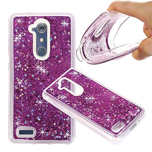ZTE ZMAX Pro Case, ZTE Carry Z981 Case, NOKEA Soft TPU Flowing Liquid Floating Luxury Bling Glitter Sparkle Case Cover Fashion Design for ZTE ZMAX Pro / Carry Z981 (Purple)