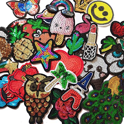 Czorange 29pcs Assorted Sequins Sewing on/Iron on Embroidered Patches for Clothes Jackets Hats Backpacks Jeans; Rainbows Roses Hearts Butterfly Animals Fruits Stars & More