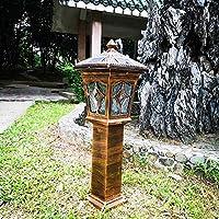 ヨーロピアンスタイルのレトロなソーラーライトコートヤードガーデンアイルヴィラ防水2色の芝生ランプ省エネポーチパティオポストヘッドライトストリートランタンの柱フロアランプ (Color : D)